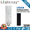 CE ROHS IP65 Listed 100lm/w power solar 30w led street light with auto-sensing and light control for projecting lighting