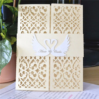 Pearl light gold classic Luxury paper and laser cut lace swan wedding invitation