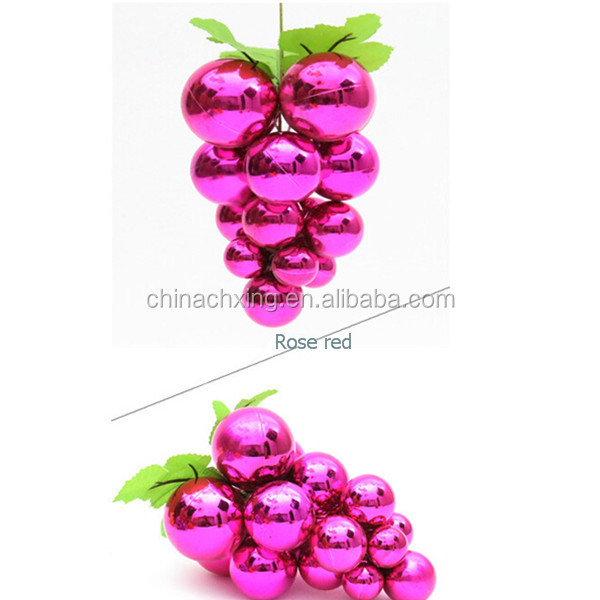 Rose red color shiny Christmas balls grape for Christmas ornament