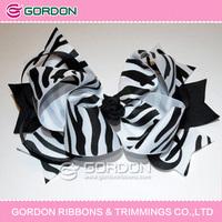 2016 zebra printing hair ribbon bow with metal clip