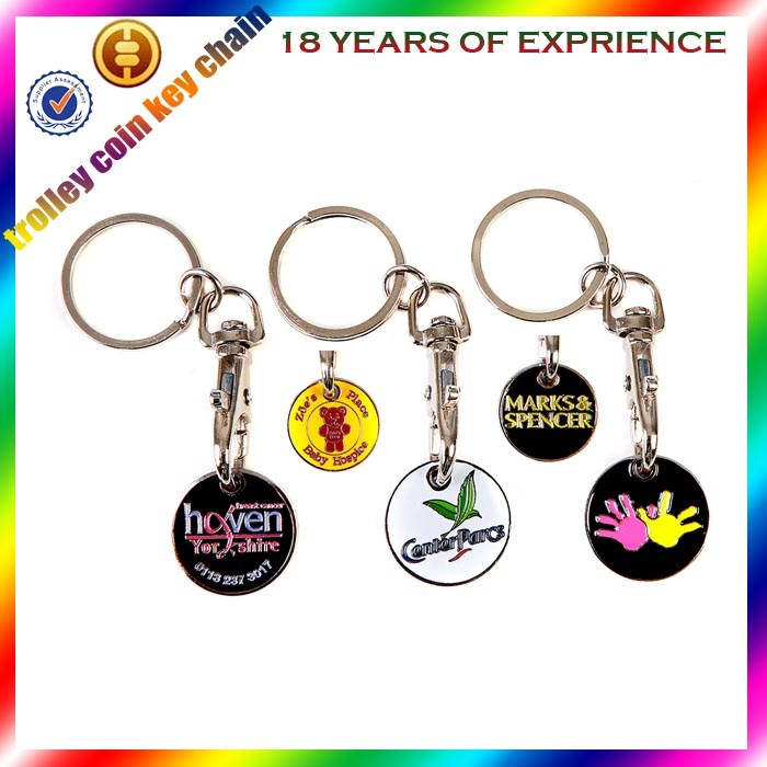 Wholesale cheap supermarket trolley coin keychain coin holder