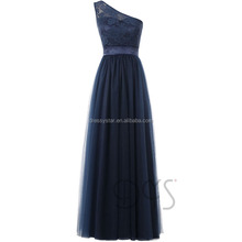 China factory direct full-length navy lace top one-shoulder tulle made puffy prom dress
