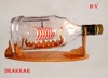 DRAKKAR VIKING SHIP IN HENESSY BOTTLE , UNIQUE NAUTICAL STYLE - HANDMADE SHIP MODEL