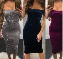 Womens Sexy Bandeau Bodycon Dress S M L XL