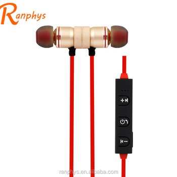 Ranphys new arrival in-ear magnetic metal sport wireless red gold stereo earphones with flat cable