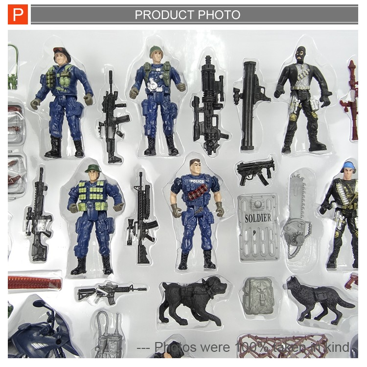 Pretend play police man figure army toys set