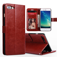 Cheap PU leather flip wallet cell mobile phone case for iphone 7 plus