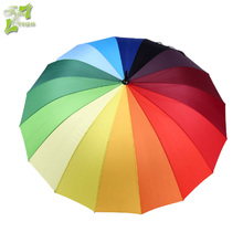 Wholesale high quality big promotional 16ribs color rainbow umbrella