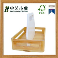 high quality varnished pinewood assemble wooden tray with handle spice bottle holder wooden tray