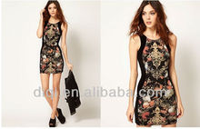 2015 new design fashion printing dresses for ladies in european