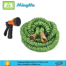 Ecofriendly Double latex hose reel ,silicon expandable garden hose with multipurpose garden hose nozzle and brass fitting