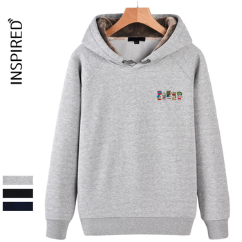 Gray cotton loose casual sweatshirt hoodies for lovers