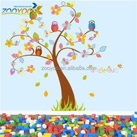 ZY7291 removable pvc owl flower tree wall stickers kids room wall decor art sticker printing nursery wall decals
