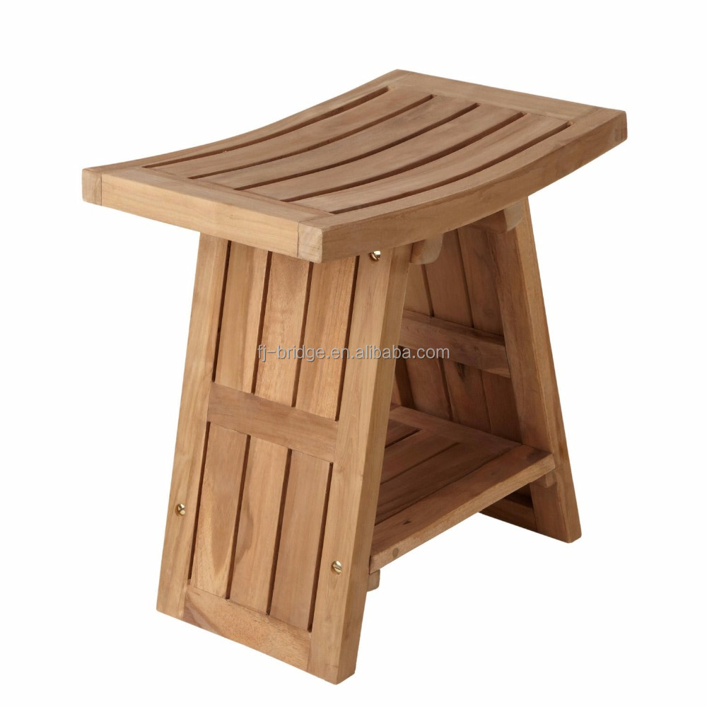 bamboo wood Asian style shower stool
