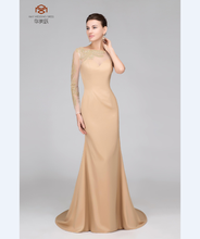 Elegant HMY-S167 Real Model Customized Satin Tulle Long Sleeve One Shoulder Beaded Applique Sheath Prom Dress 2017