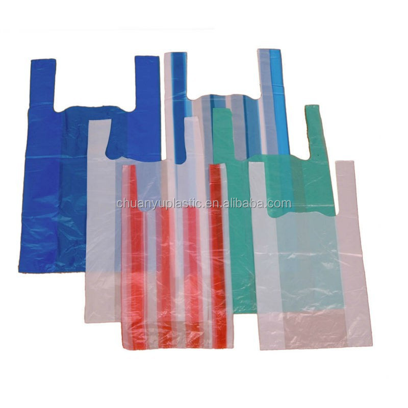 Plain <strong>orange</strong> HDPE/LDPE T-shirt plastic bags vest carrier bags