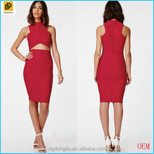 New Design Ladies Cut Out Sexy Dress Red