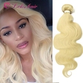 100 human hair blonde malaysian hair weave , body wave 613 bundles