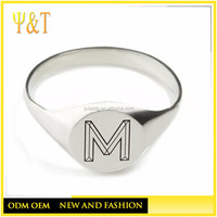 Best Selling China Factory Direct Wholesale 316 stainless steel simple letter m rings (HZ-034)
