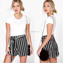 Striped Tied Shorts Korean Style High Waisted Fashion Flare Short Pants