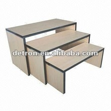 2016 Shop display table with wooden grain melamine finish, used for retail store W155