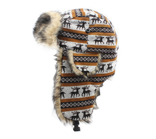 Warm Printing Earflaps Fur cap winter hat