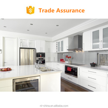 Guangzhou foshan low price kitchen cabinet MDF faced lacquer kitchen cabinet with backsplash