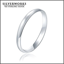 Wholesale Custom 925 Sterling Silver Simple Plain Band Engagement Wedding Ring