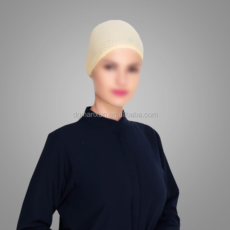 High Quality Islamic Clothing Yellow Stone Work Hijab Cap Dubai Style Hotsale Muslim Hijab