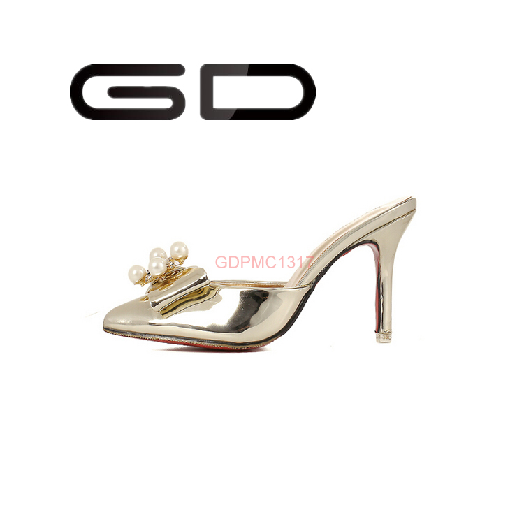 GD 2015 Beadings decoration hot sexy ladies wearing cheap whole sale high pump shoes