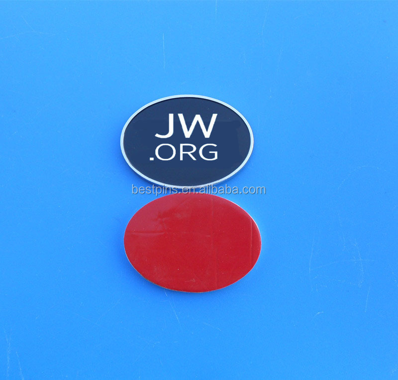 JW.ORG custom cheap logo 3d sticker adhesive metal car bonnet badge