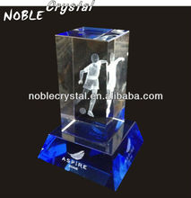 2014 World Cup Brazil 3D Laser Engraved Crystal Football Player Trophy Award