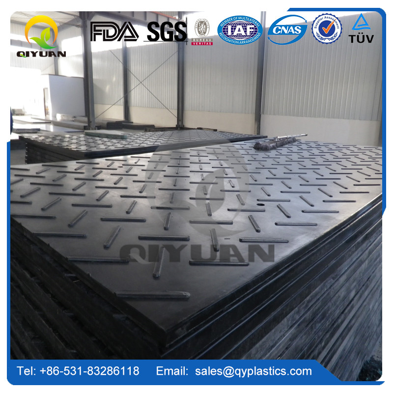 ground protection mat installation/ UHMWPE board with textured surface / temporary road mats