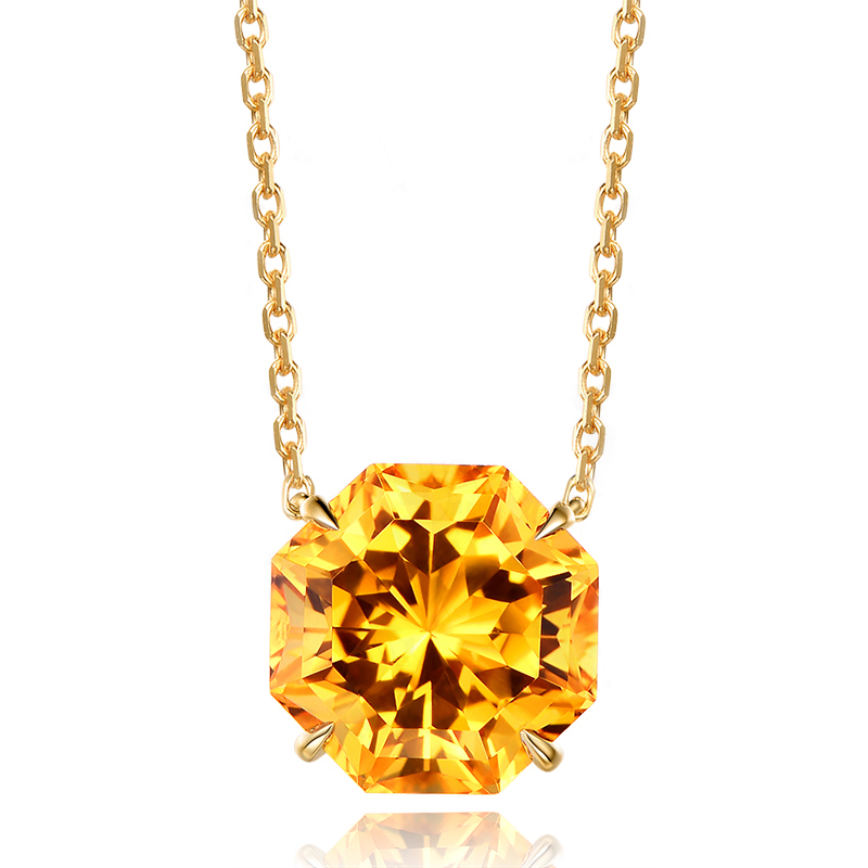 SJM037 Yellow Stone Jewelry Brass Gold Color Cubic Zirconia Solitaire Octagon Yellow CZ Pendant Necklace