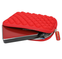 Neoprene Hard Drive HDD Store Hand U Disk Carrying Case for 2.5-Inch Portable Hard Drive with mesh pocket inside (Red)