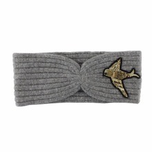 Ladies' wool applique knitted headband