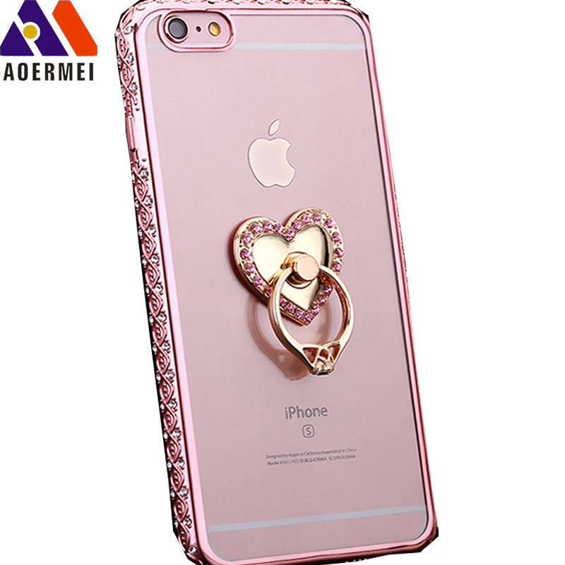 Hot sale luxury crystal diamond bling eletroplate soft tpu transparent real flower resin phone case for iPhones 6 6S Plus