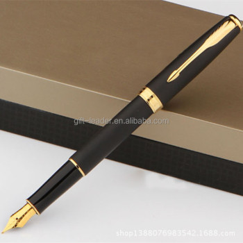 2015 gift box packing best selling luxury black metal fountain pen