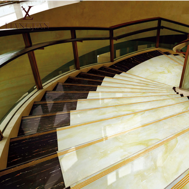 Importer New Products Building Material 480X1200Mm White And Coffee Full Body Glazed Vitrified Marble Stair Ceramic Tile