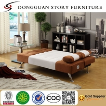 Single Futon Sofa with Bluetooth Speaker System, White and Brown
