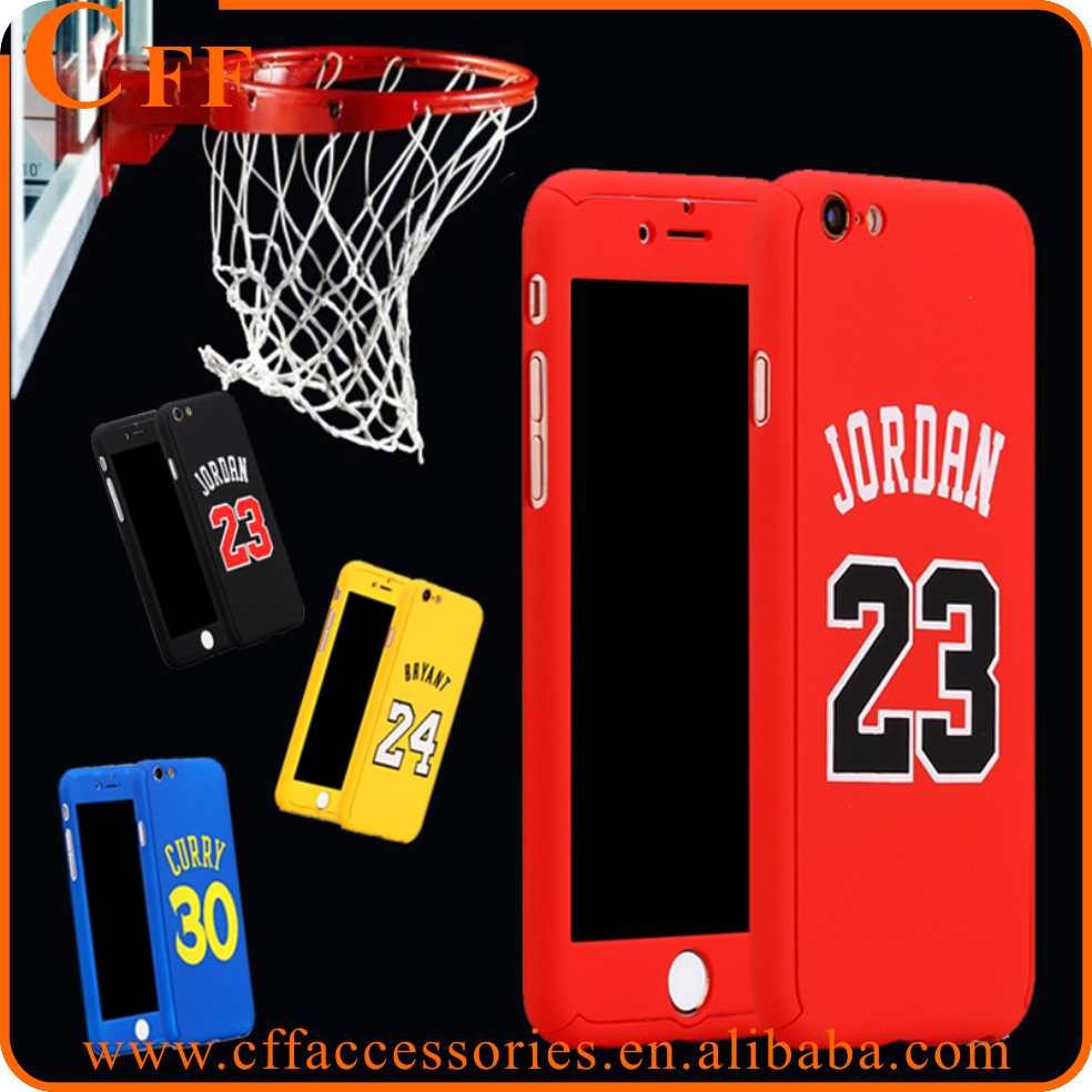Basketball Top Stars 360 Degrees Temper Glass Case Cover for iPhone 6 6S Plus Curry Kobe Bryant Michael Jordan 23