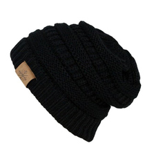 Unisex simple black leather patch design your own winter cc beanie hat