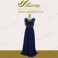 Dark blue flower wrtistband chiffon ruffle sleeveless embroidery designs for wedding dress