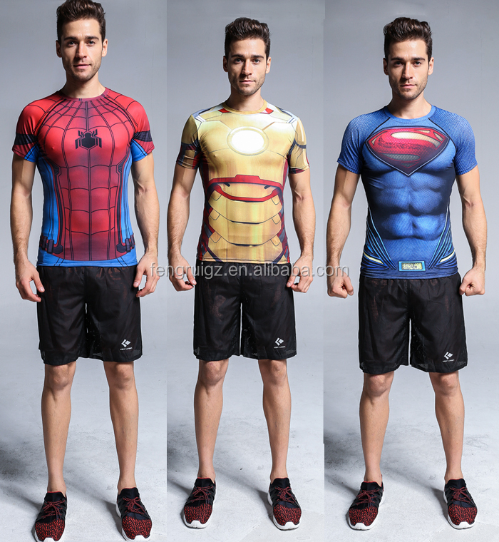 Guangzhou Manufacture Marvel Superman Fitness t-shirt Lycra Dropshipping T-Shirt for Men