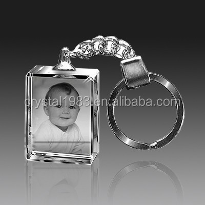 Factory wholesale birthday premiums gifts custom design with baby photo laser inside K9 crystal souvenir keychain