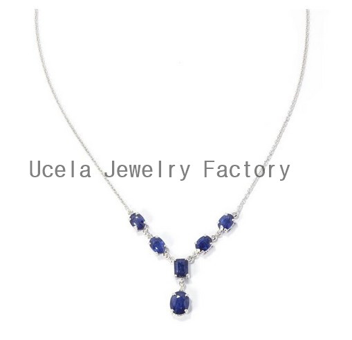 Top Design 925 Sterling Silver blue sapphire statement necklaces teenage trendy expensive fashion jewelry