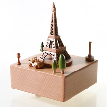 Europe style Eiffel Tower building Souvenirs Rotated custom made music box music box omni