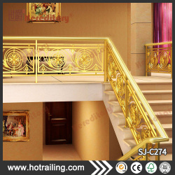 Luxury stainless steel handrails staircase indoor gold color stair handrail