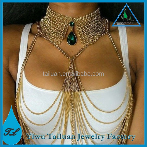 Fashion chunky body chain jewelry crystal necklace bra body jewelry