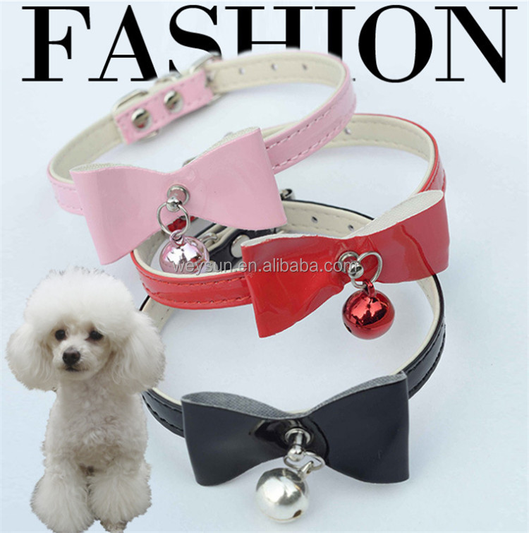 Dogs Cat collar Bowknot bell PU Leather Dog Puppy Pet Collars Necklace Collars